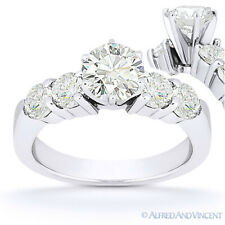 Round Cut Moissanite 6-Prong Ctr 5 Five-Stone Engagement Ring in 14k White Gold