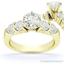 Round Cut Moissanite 6-Prong Ctr 5 Five-Stone Engagement Ring in 14k Yellow Gold