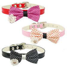 """Fashion Dog Pet Cat Collars PU Leather with Cute Bowknot Neck for7""""-11"""""""