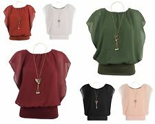 WOMENS LADIES CHIFFON NECKLACE BLOUSE SLEEVELESS TOP LINED BATWING LOOK TOP 8-14