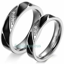 New Stainless Steel Rings Black Enamel w Cubic Zirconia Couple's Wedding Bands