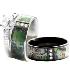 His & Hers STAINLESS STEEL Camo, 925 SILVER Engagement Wedding Rings Set Black