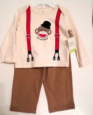 Baby Starters Boys 2 pc Sock Monkey Set Long Slv Top/Pants Ivory/Brown Select Sz