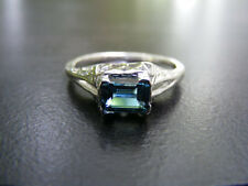 S277 Sterling Silver Filigree Ring 1 carat Natural Blue Topaz Gemstone