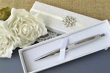 Wedding Guest Book Pen With Elegant Ivory Hand Decorated Presentation Box.