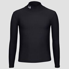 UNDER ARMOUR Coldgear Mock Neck Black L/S Shirt Football Baseball NEW Boys Sz L