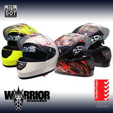 Full face road helmet, adult sizes, various colours, AS/NZS1698, two visors, new