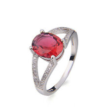 red 925 Silver Ruby & White Sapphire Wedding Ring size 6/7/8/9 New