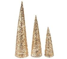 Set of 3 Illuminated Glitter Sequin Trees with Timers H203847