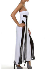 Fashion White Black Red Blue Strapless Mesh Insert Convertible Maxi Dress LC6536