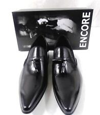 New Encore Black Pointed Toe Leather Slip on Dress Shoes with Tassels FI 3049