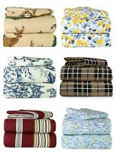 Super Soft Flannel 100% Cotton 4 Piece Bed Sheet Set Prints in 6 Styles & 4Sizes