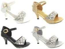 GIRLS CHILDRENS  HIGH MID HEEL DIAMANTE PARTY KIDS BRIDESMAID SANDALS SHOES SIZE