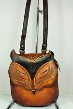 Genuine Leather FOX  Purse, Shoulder Purse, Pouch, Handbag, Hand Tooled