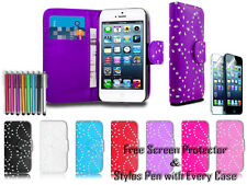 Diamond Leather Pu Wallet Sparkle Gem Bling Case Cover For Apple iPhone 4 4G 4S