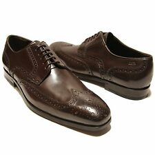 $295 HUGO BOSS Dark Brown Wingtip Formal Mens Leather Oxford Dress Shoes Casual