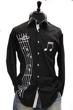 Mens Axxess Black Cotton French Cuff Music Notes Party Formal High Collar Shirt