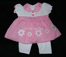 Baby Girls Pink Gingham Daisy Summer Dress & Leggings Outfit/Set 0-9 Month