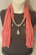 Scarf with Teardrop Rhinestone Pendant Charm Necklace Many Colors NEW US SELLER