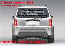 3 lines decal custom your promotional business text car van windscreen sticker