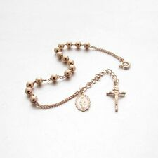 BR45-P Cross Crucifix Sterling Silver 925 Rosary Bracelet 4.5mm Pink Gold Plated