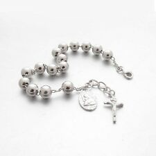 RB70-W Cross Crucifix Sterling Silver 925 Rosary Bracelet 7mm White Gold Plated