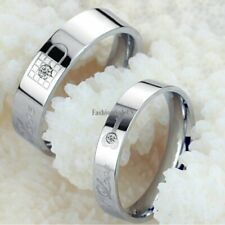 Stainless Steel Lock&Key Wedding Couple Band Rings Engraved Love w/ Rhinestone