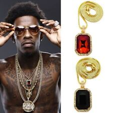 MENS HIP HOP ICED OUT RICH HOMIE QUAN GANG RED RUBY ONYX PENDANT CHAIN NECKLACE