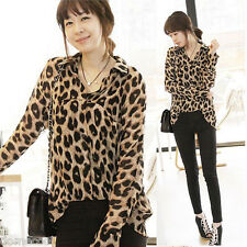 Ladies Womens Leopard Print Top Chiffon T Shirt Long Sleeve Blouse Tops Blouse