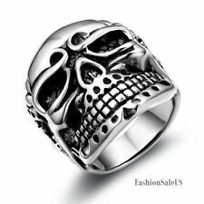 New Punk Large Heavy Biker Gothic Skull Stainless Steel Ring Mens Band Size 7-12
