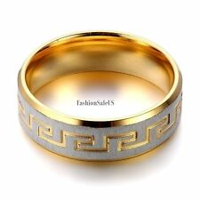 7mm Stainless Steel Ring Greek Key Men's Women's Bands Size7-10 Gold&Silver New