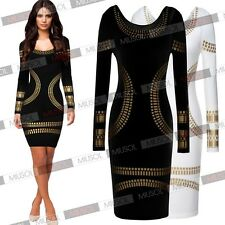 Womens Celeb Foil Print Sexy Bodycon Work Evening Cocktail Party Pencil Dresses