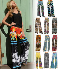 Designer Palazzo Pants Printed Wide Leg Leggings Stretchy High Waist Loose Fit