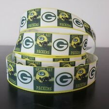 "GROSGRAIN GREEN BAY PACKERS 7/8"" INCH RIBBON 1, 3, 5 YDS**SHIPS FREE*USA SELLER"