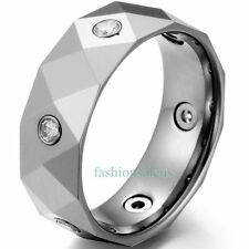 8MM Polished Faceted w/ 6 Cubic Zirconia Tungsten Carbide Ring Mens Wedding Band