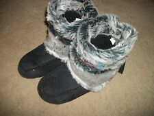 Mudd high moccasin style slippers furry beading New Small Black gray