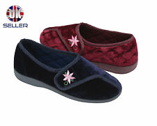 Womens Dunlop House Slippers Diabetic Orthopaedic Comfort Wide Fit Velcro 3-8