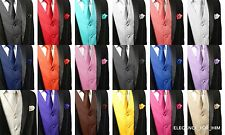 Men's Solid Dress Vest and Neck Tie Hankie Set For Suit or Tuxedo 18 Colors