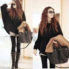 Fashion Women Scoop Neck Batwing Long Sleeve Slouchy Knit Pullover Sweater Shirt