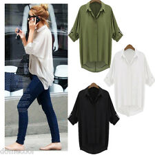Fashion Women Chiffon Shirt Long Sleeve Turn-down Collar Loose Casual Top Blouse