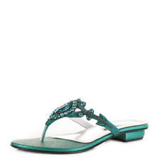 WOMENS TOE POST GEM DIAMANTE CYAN SUMMER SANDALS WEDDING PARTY SHOES SIZE