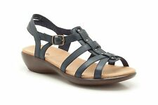 Clarks Womens Casual Clarks Roza Jaida Leather Sandals In Navy