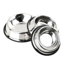 All Size Stainless Steel No tip No Slip Dog Puppy Pet Food or Water Bowl Dish EC