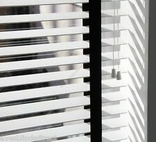 MADE TO MEASURE WOODEN VENETIAN WINDOW BLIND 50MM WHITE WOOD WITH BLACK TAPES