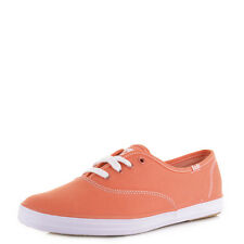Womens Keds Champion Oxford Coral Canvas Lace Up Plimsoles Shoes Pumps Size