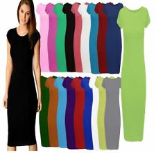 NEW WOMENS PLUS SIZE LADIES PLAIN SHORT CAP SLEEVE BODYCON MAXI MIDI DRESS 8-26