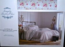 COMFORTER QUILT~COVER DUVET~MAN~GIRLS~BED SET~SHABBY CHIC~WHITE/PINK/GRAY~F/Q/K+