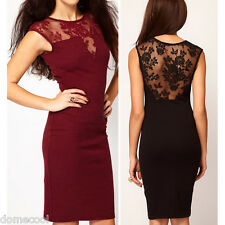 Sexy Women Dress Floral Lace Slim Bodycon Dress Party Clubwear Evening Dress DM