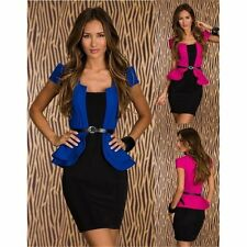 Mini abito tubino dress peplum maniche corte scollo quadrato donna sera sexy hot