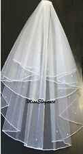 #Bridal veil #2T Wedding veil White, Ivory Sholulder-floor veil,Pencil Edge Comb